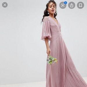 ASOS pleated blush long dress